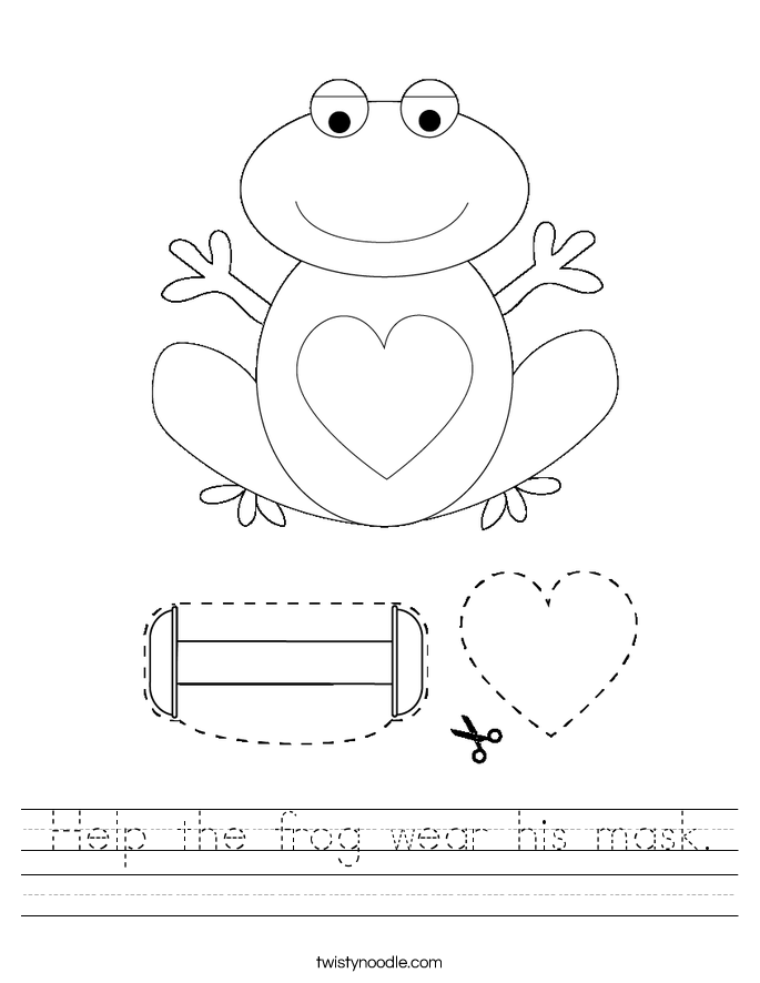 Help the frog wear his mask. Worksheet