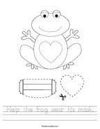 Help the frog wear his mask Handwriting Sheet