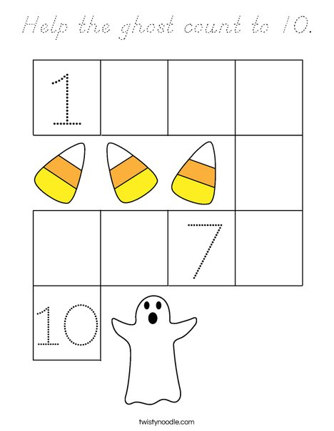 Help the ghost count to 10. Coloring Page
