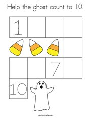 Help the ghost count to 10 Coloring Page