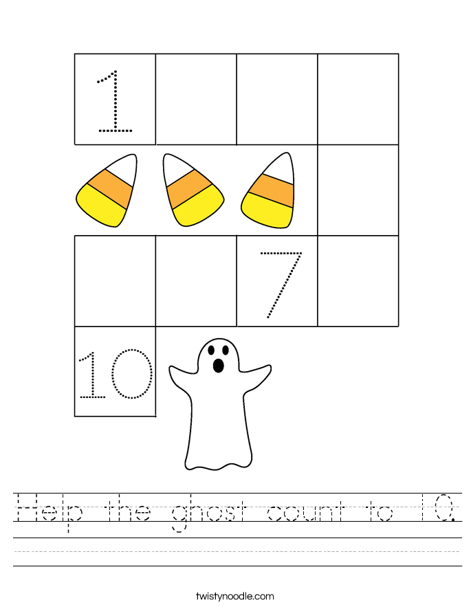 Help the ghost count to 10. Worksheet