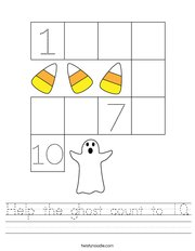 Help the ghost count to 10 Handwriting Sheet
