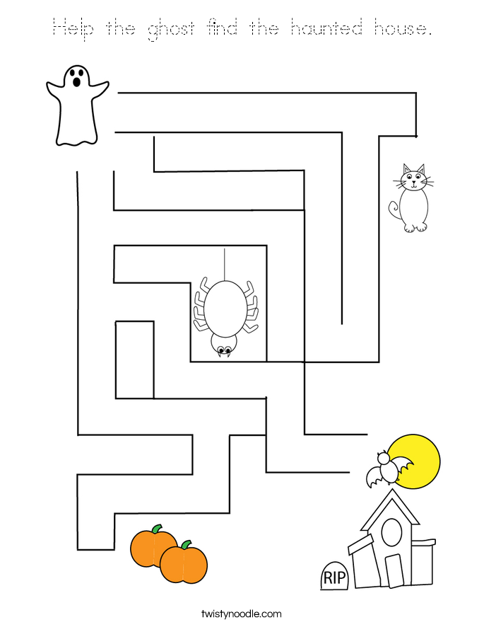 Help the ghost find the haunted house. Coloring Page