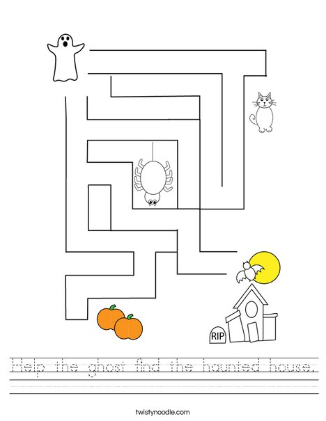 Help the ghost find the haunted House. Worksheet