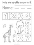 Help the giraffe count to 8. Coloring Page
