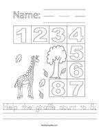 Help the giraffe count to 8 Handwriting Sheet