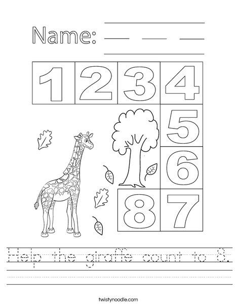 Help the giraffe count to 8. Worksheet