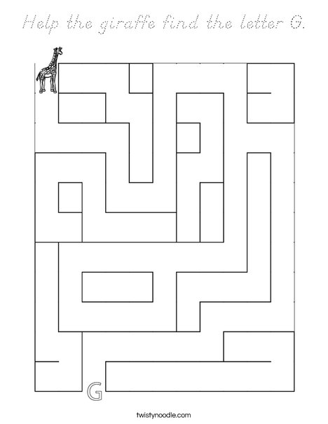Help the giraffe find the letter G. Coloring Page