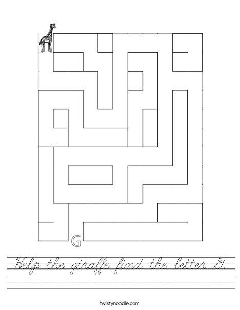Help the giraffe find the letter G. Worksheet