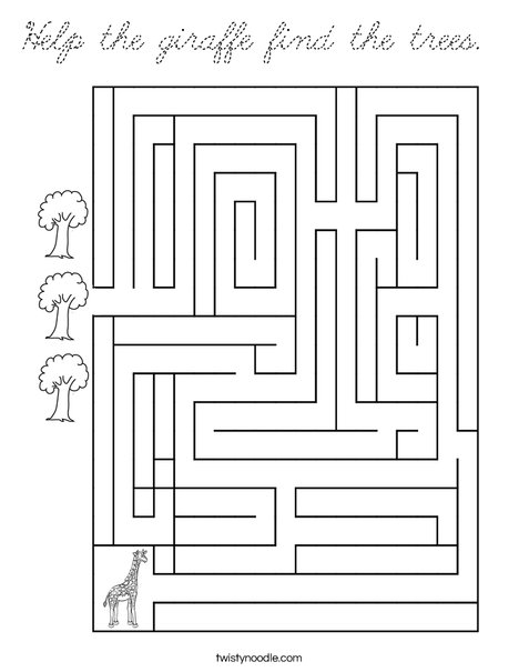 Help the giraffe find the trees. Coloring Page
