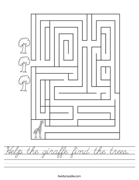 Help the giraffe find the trees. Worksheet