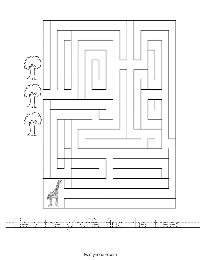 Help the giraffe find the trees.  Worksheet