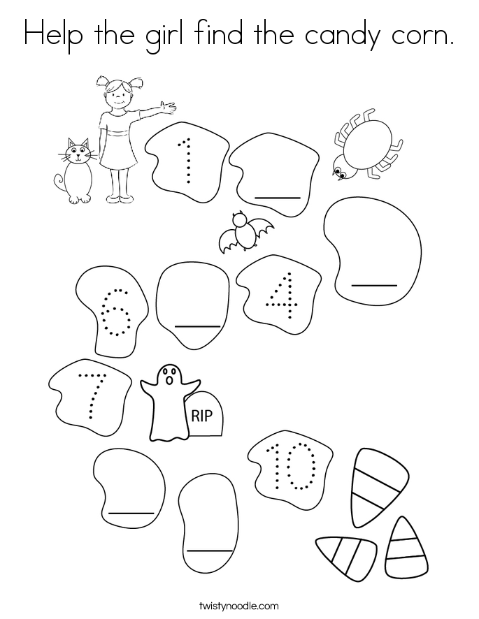 Help the girl find the candy corn. Coloring Page