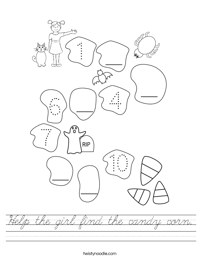 Help the girl find the candy corn. Worksheet