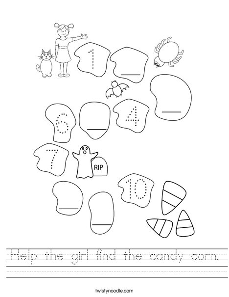 Help the girl find the candy. Worksheet