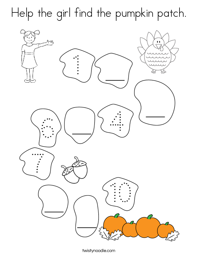 Help the girl find the pumpkin patch. Coloring Page