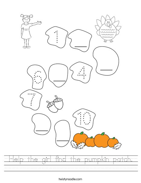 Help the girl find the pumpkin patch. Worksheet