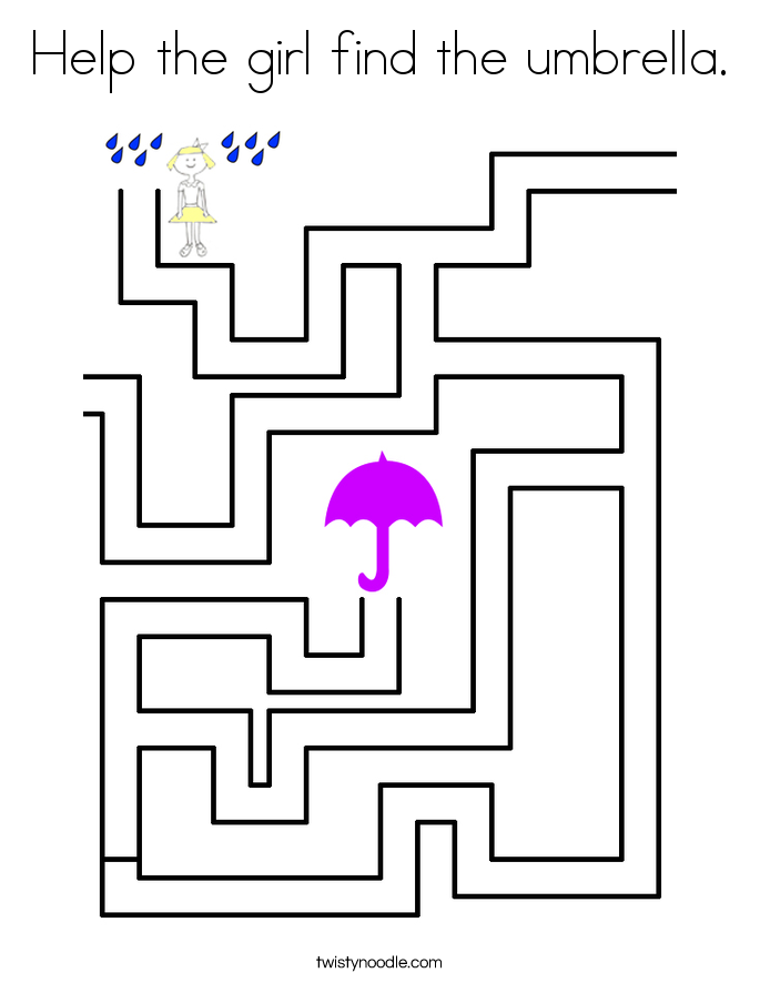 Help the girl find the umbrella. Coloring Page