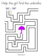 Help the girl find the umbrella Coloring Page