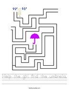 Help the girl find the umbrella Handwriting Sheet