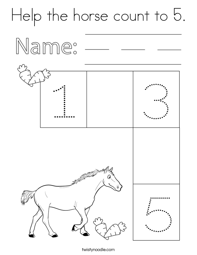 Help the horse count to 5. Coloring Page