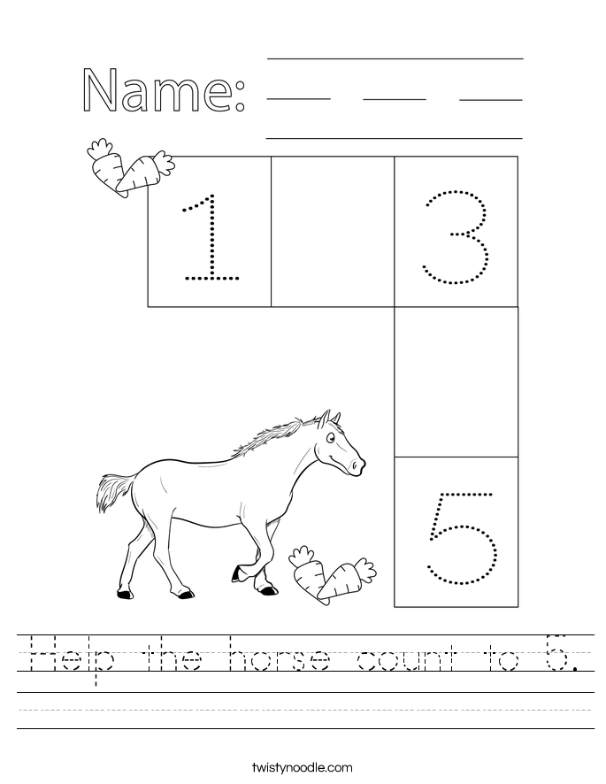 Help the horse count to 5. Worksheet