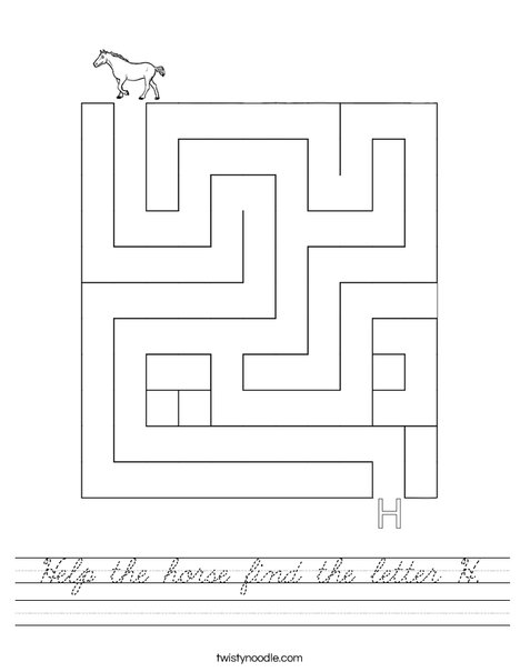 Help the horse find the letter H. Worksheet