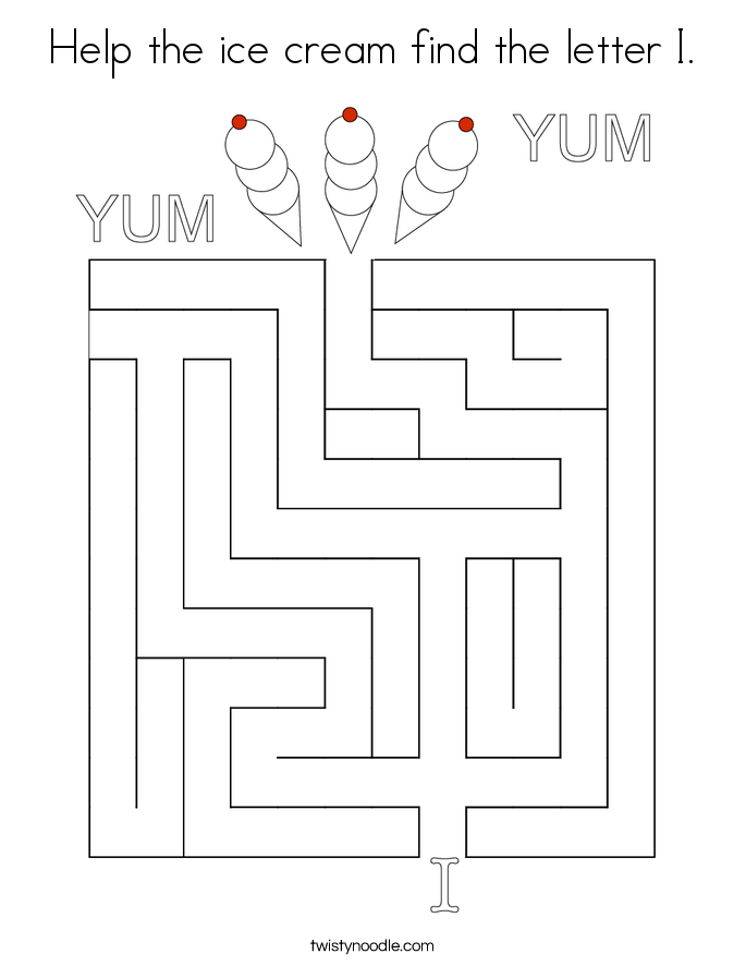 Help the ice cream find the letter I. Coloring Page
