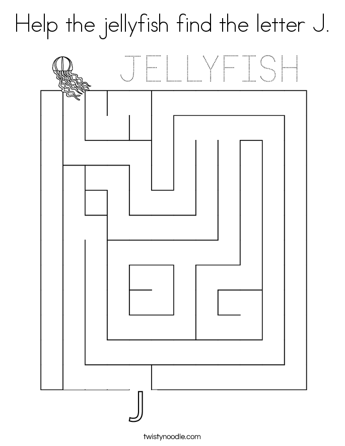 Help the jellyfish find the letter J. Coloring Page