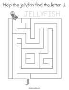 Help the jellyfish find the letter J Coloring Page