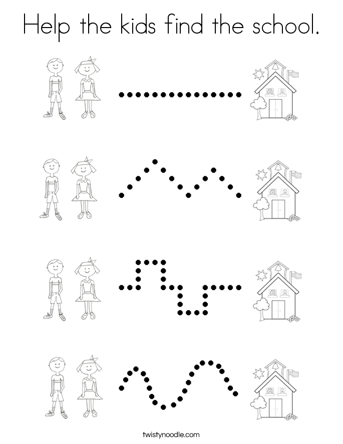 Help the kids find the school. Coloring Page