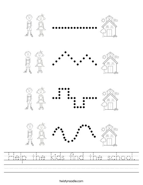 Help the kids find the school. Worksheet