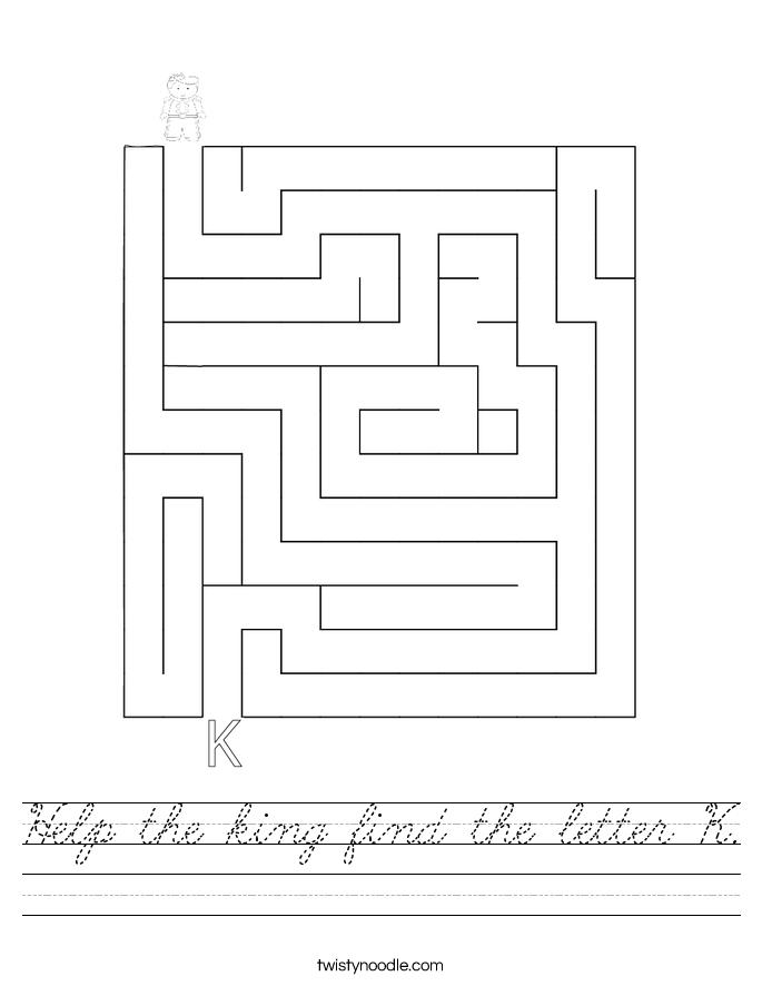 Help the king find the letter K. Worksheet