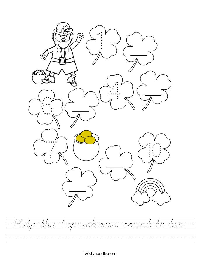 Help the Leprechaun count to ten. Worksheet
