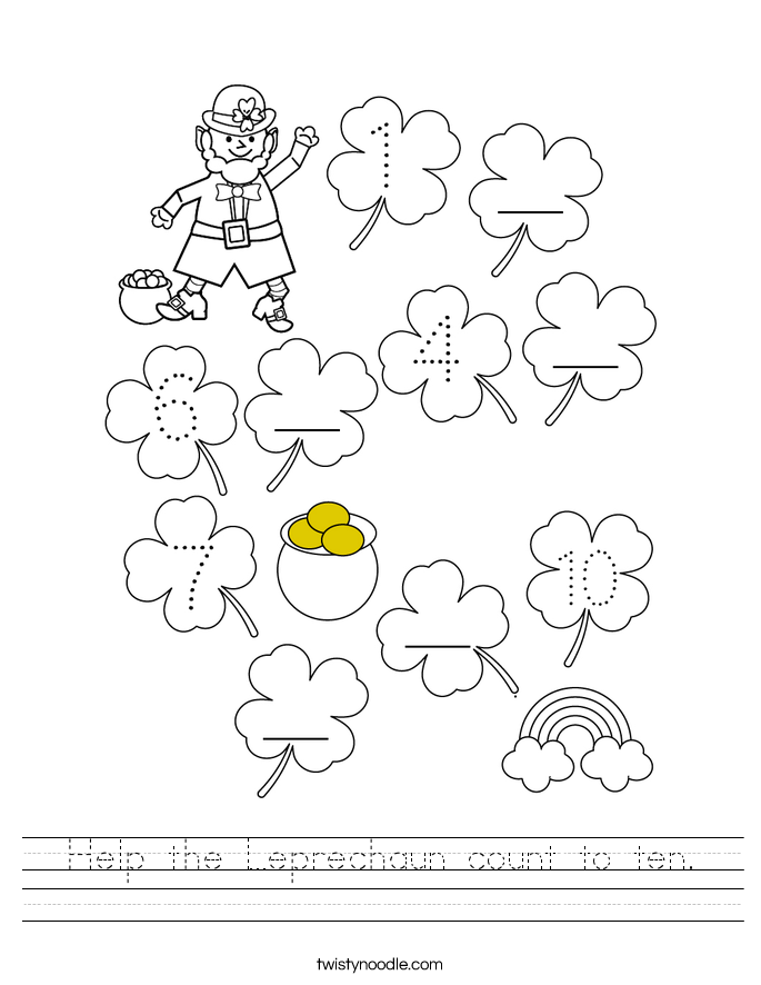 Help the Leprechaun count to ten. Worksheet