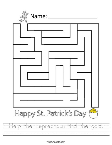 Help the Leprechaun find the gold. Worksheet