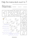 Help the mama duck count to 7. Coloring Page