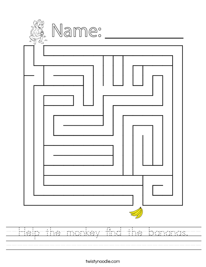 Help the monkey find the bananas. Worksheet
