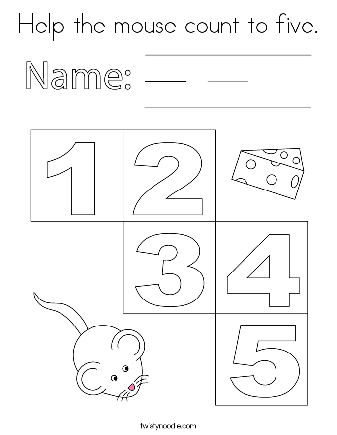 Help the mouse count to five. Coloring Page