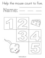 Help the mouse count to five Coloring Page