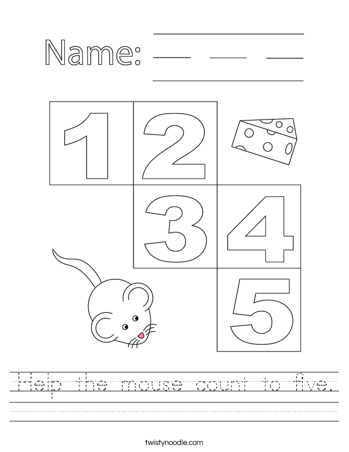 Help the mouse count to five. Worksheet
