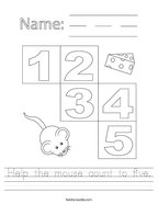 Help the mouse count to five Handwriting Sheet