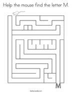 Help the mouse find the letter M Coloring Page