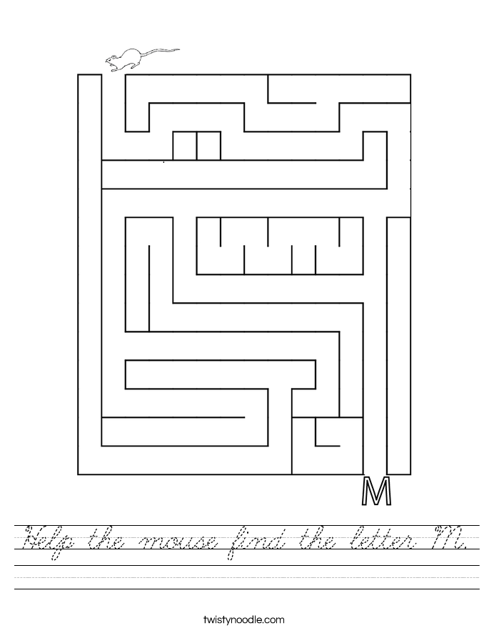 Help the mouse find the letter M. Worksheet