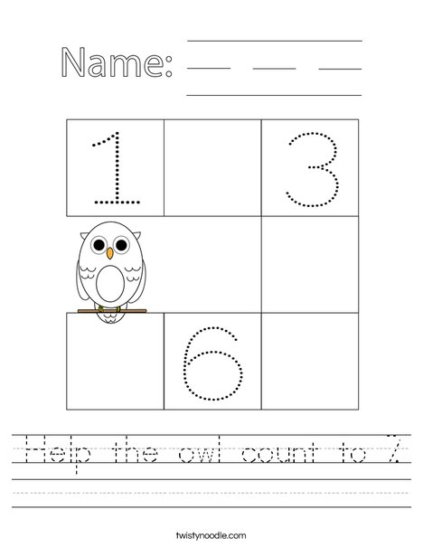 Help the owl count to 7. Worksheet
