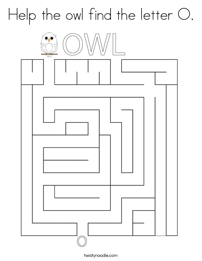 Help the owl find the letter O. Coloring Page