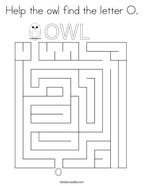 Help the owl find the letter O Coloring Page