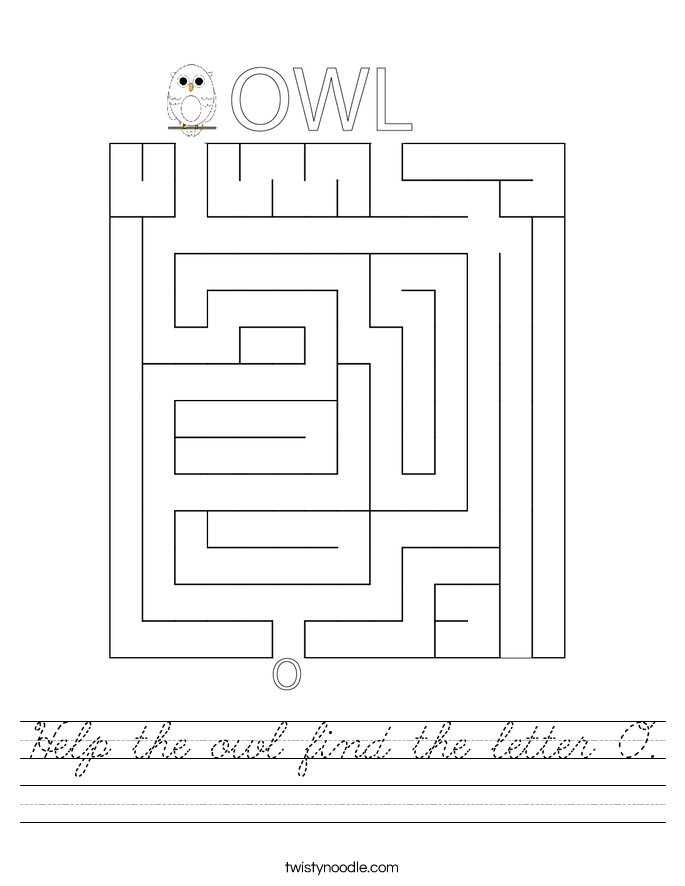 Help the owl find the letter O. Worksheet