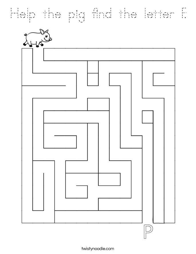 Help the pig find the letter P. Coloring Page