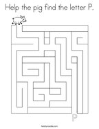 Help the pig find the letter P Coloring Page